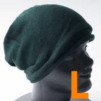 コットン ニット帽 ニットキャップ L グリーン 緑 メンズ レディース ワッチ ビーニー 帽子 男女兼用 オールシーズン サマーニット帽
