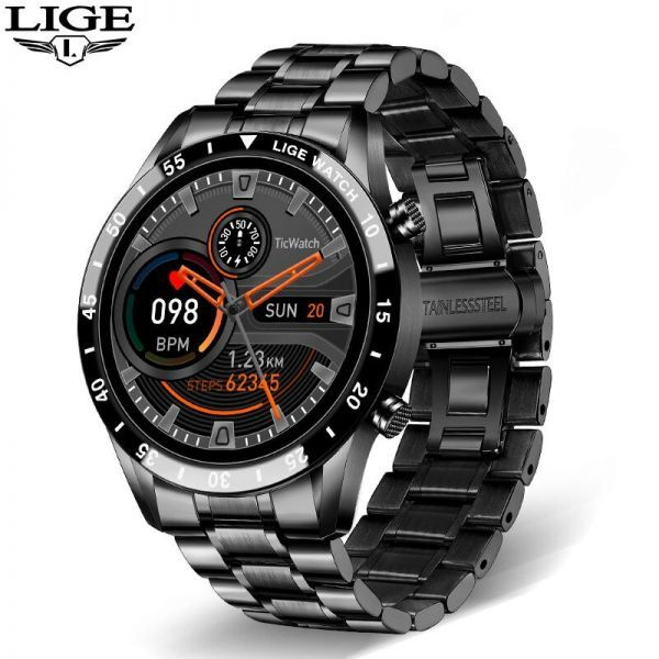 Lige鋼バンド腕時計スポーツフィットネス腕時計心拍数モニター天気ディスプレイ防水bluetooth通話スマートウォッ black_画像1