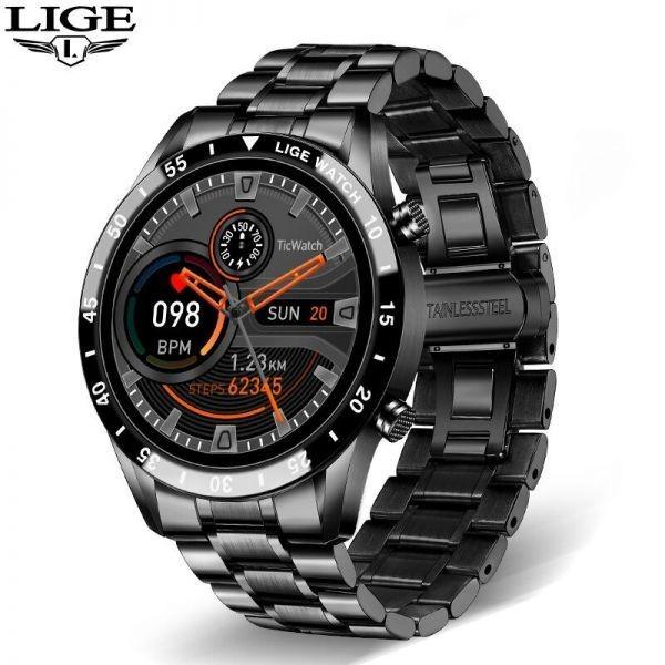 Lige鋼バンド腕時計スポーツフィットネス腕時計心拍数モニター天気ディスプレイ防水bluetooth通話スマートウォッ black_画像2
