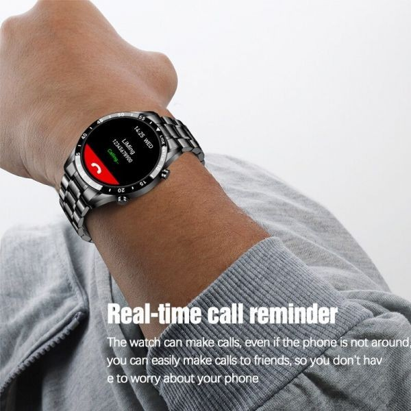 Lige鋼バンド腕時計スポーツフィットネス腕時計心拍数モニター天気ディスプレイ防水bluetooth通話スマートウォッ black_画像7