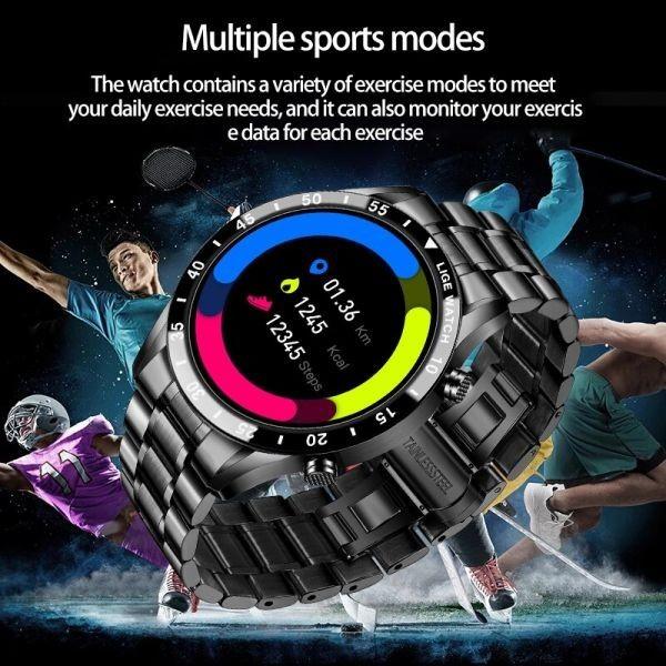 Lige鋼バンド腕時計スポーツフィットネス腕時計心拍数モニター天気ディスプレイ防水bluetooth通話スマートウォッ black_画像5