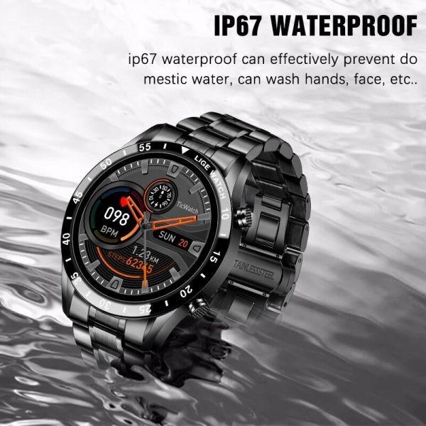 Lige鋼バンド腕時計スポーツフィットネス腕時計心拍数モニター天気ディスプレイ防水bluetooth通話スマートウォッ black_画像3