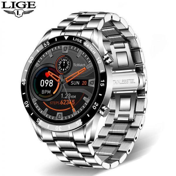 Lige鋼バンド腕時計スポーツフィットネス腕時計心拍数モニター天気ディスプレイ防水bluetooth通話スマートウォ sliver_画像1