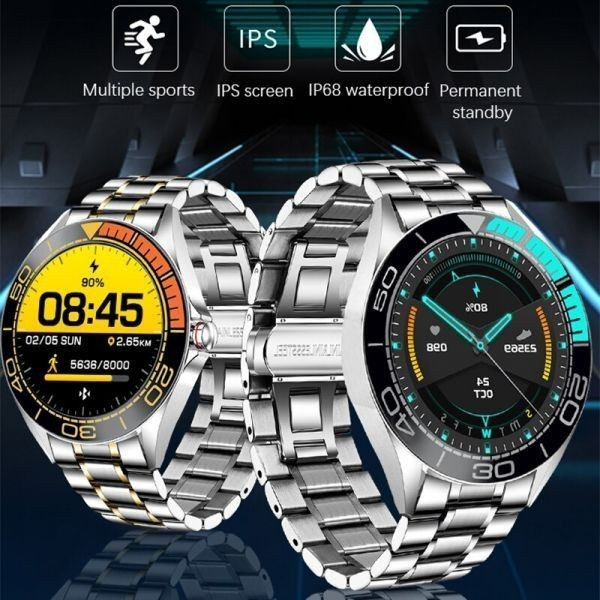 Lige新高級鋼バンドスマート腕時計男性のスマートウォッチ防水スポーツフィットネス男性android orange sliver_画像7