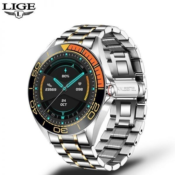 Lige新高級鋼バンドスマート腕時計男性のスマートウォッチ防水スポーツフィットネス男性android orange sliver_画像2