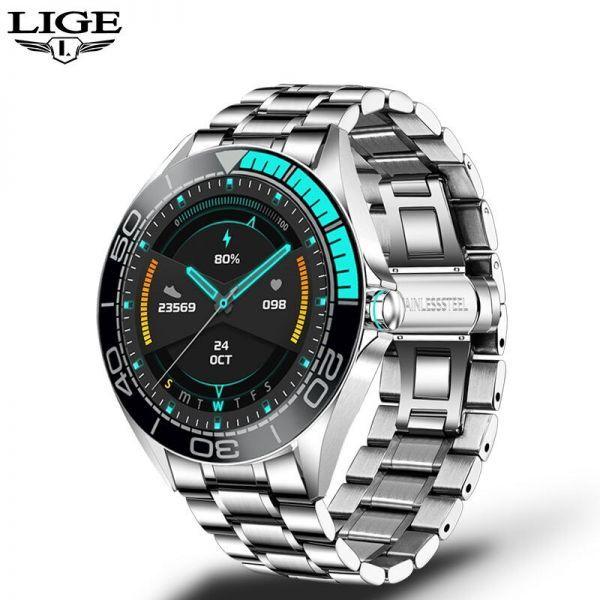 Lige新高級鋼バンドスマート腕時計男性のスマートウォッチ防水スポーツフィットネス男性android io blue sliver_画像1