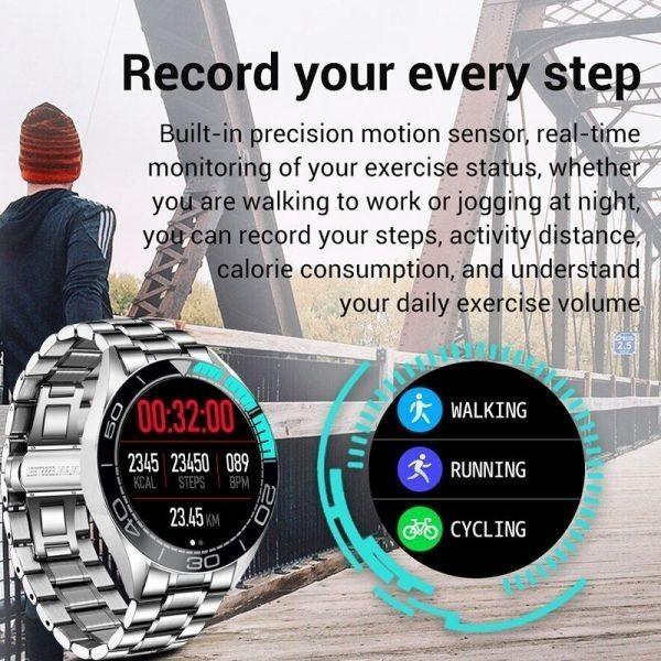 Lige新高級鋼バンドスマート腕時計男性のスマートウォッチ防水スポーツフィットネス男性android io blue sliver_画像4