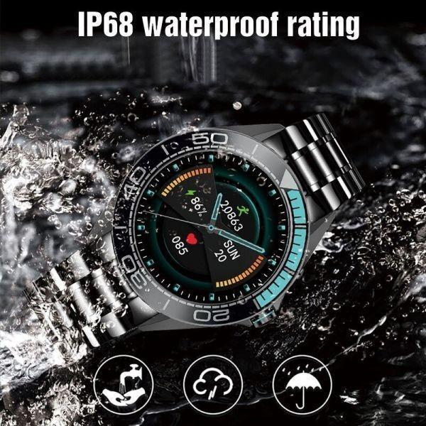 Lige新高級鋼バンドスマート腕時計男性のスマートウォッチ防水スポーツフィットネス男性android io blue sliver_画像5