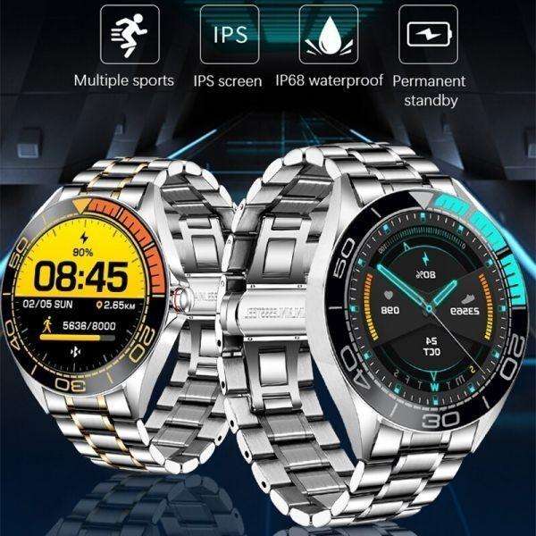 Lige新高級鋼バンドスマート腕時計男性のスマートウォッチ防水スポーツフィットネス男性android ios blue black_画像7