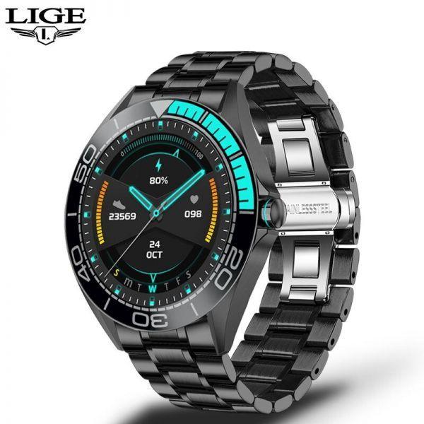 Lige新高級鋼バンドスマート腕時計男性のスマートウォッチ防水スポーツフィットネス男性android ios blue black_画像1
