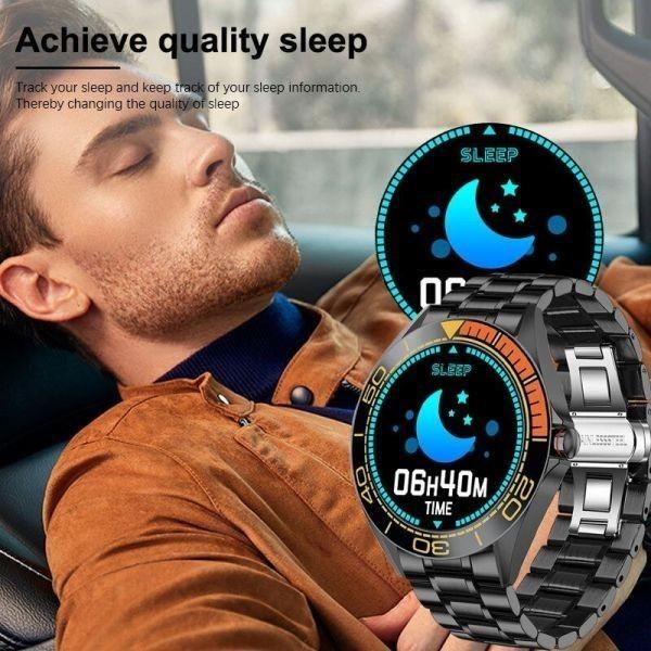 Lige新高級鋼バンドスマート腕時計男性のスマートウォッチ防水スポーツフィットネス男性android i orange black_画像6