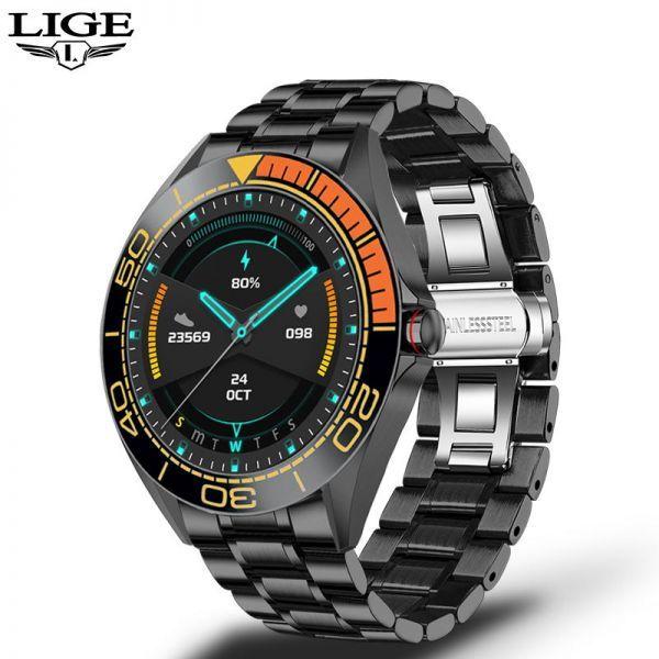 Lige新高級鋼バンドスマート腕時計男性のスマートウォッチ防水スポーツフィットネス男性android i orange black_画像1