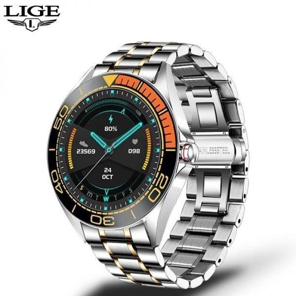 Lige新高級鋼バンドスマート腕時計男性のスマートウォッチ防水スポーツフィットネス男性android i orange black_画像2