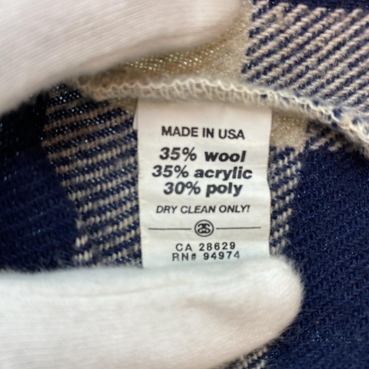 ●Stussy ステューシー OLD Stussy オールドステューシー 90s 90年代 紺タグ チェック ウール シャツ USA製 MADE IN USA 104_画像5