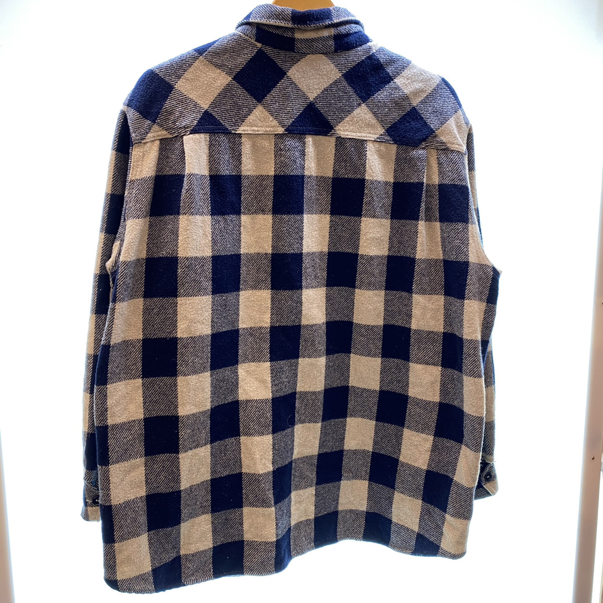 ●Stussy ステューシー OLD Stussy オールドステューシー 90s 90年代 紺タグ チェック ウール シャツ USA製 MADE IN USA 104_画像3