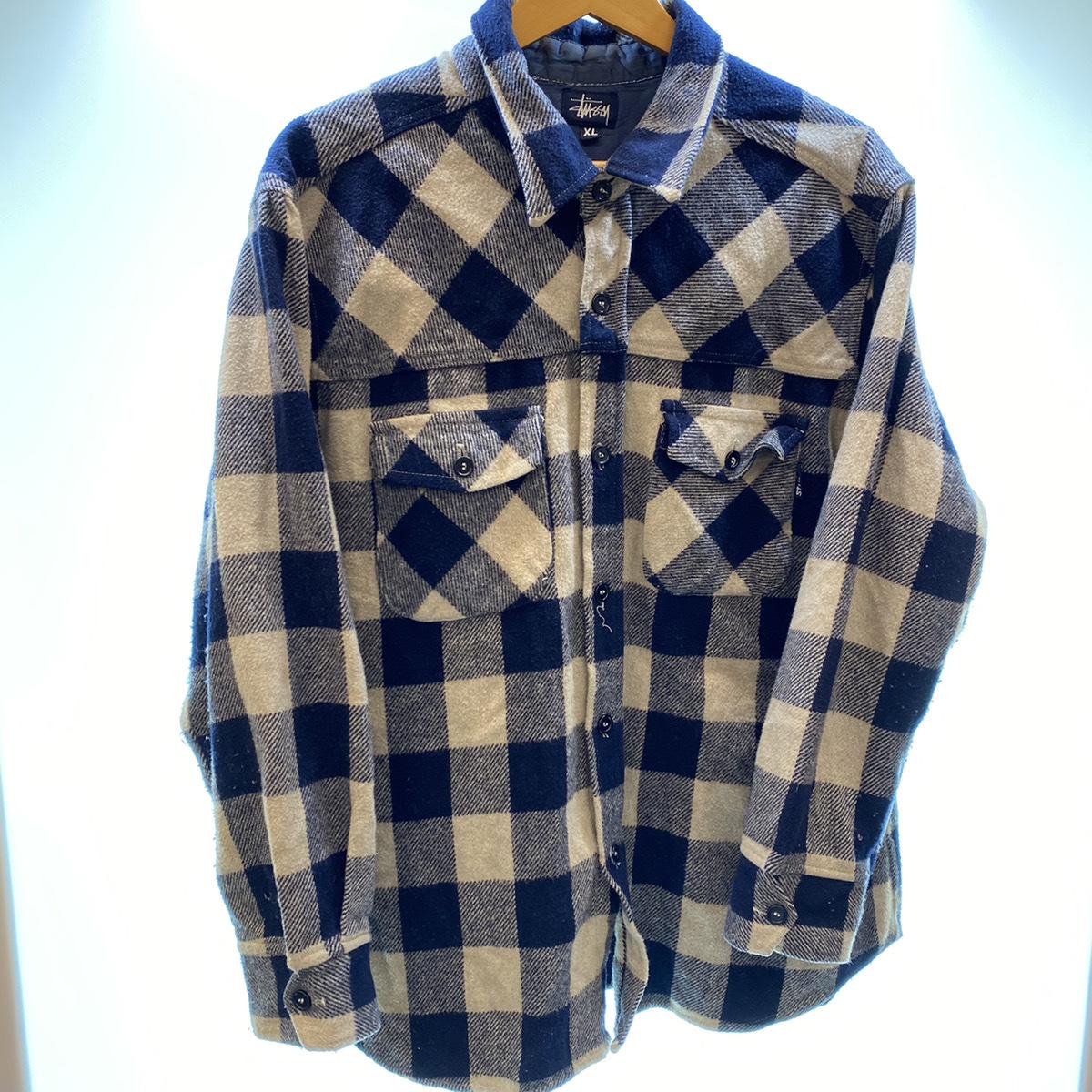 ●Stussy ステューシー OLD Stussy オールドステューシー 90s 90年代 紺タグ チェック ウール シャツ USA製 MADE IN USA 104_画像2