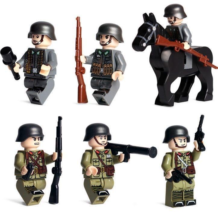 第二次世界大戦 ドイツ軍xアメリカ軍 武器つきセット 戦争軍人軍隊マンミニフィグ LEGO 互換 ブロック ミニフィギュア レゴ 互換t13_画像2