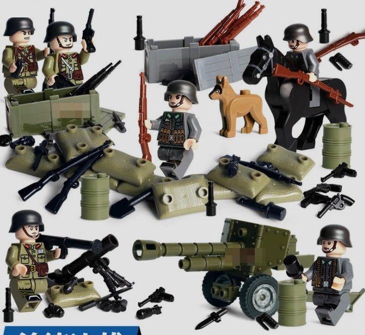 第二次世界大戦 ドイツ軍xアメリカ軍 武器つきセット 戦争軍人軍隊マンミニフィグ LEGO 互換 ブロック ミニフィギュア レゴ 互換t13_画像1