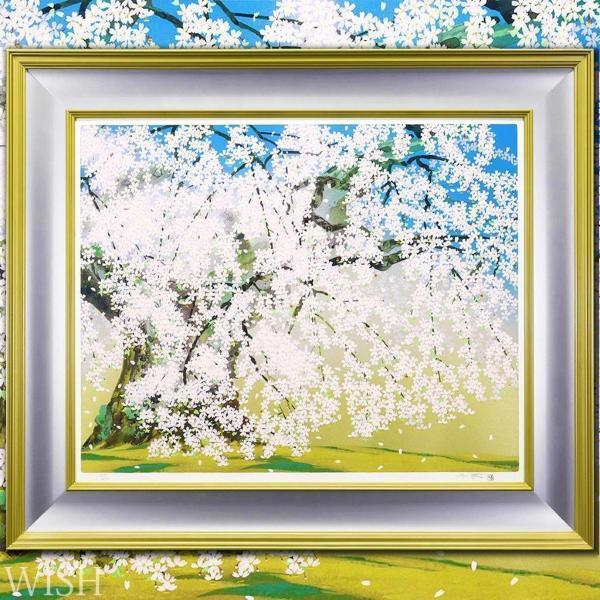 【真作】【WISH】中島千波「般若院の枝垂れ桜」シルクスクリーン 大作 直筆サイン ◆桜   〇現代巨匠 元日本美術院特待 #21032484