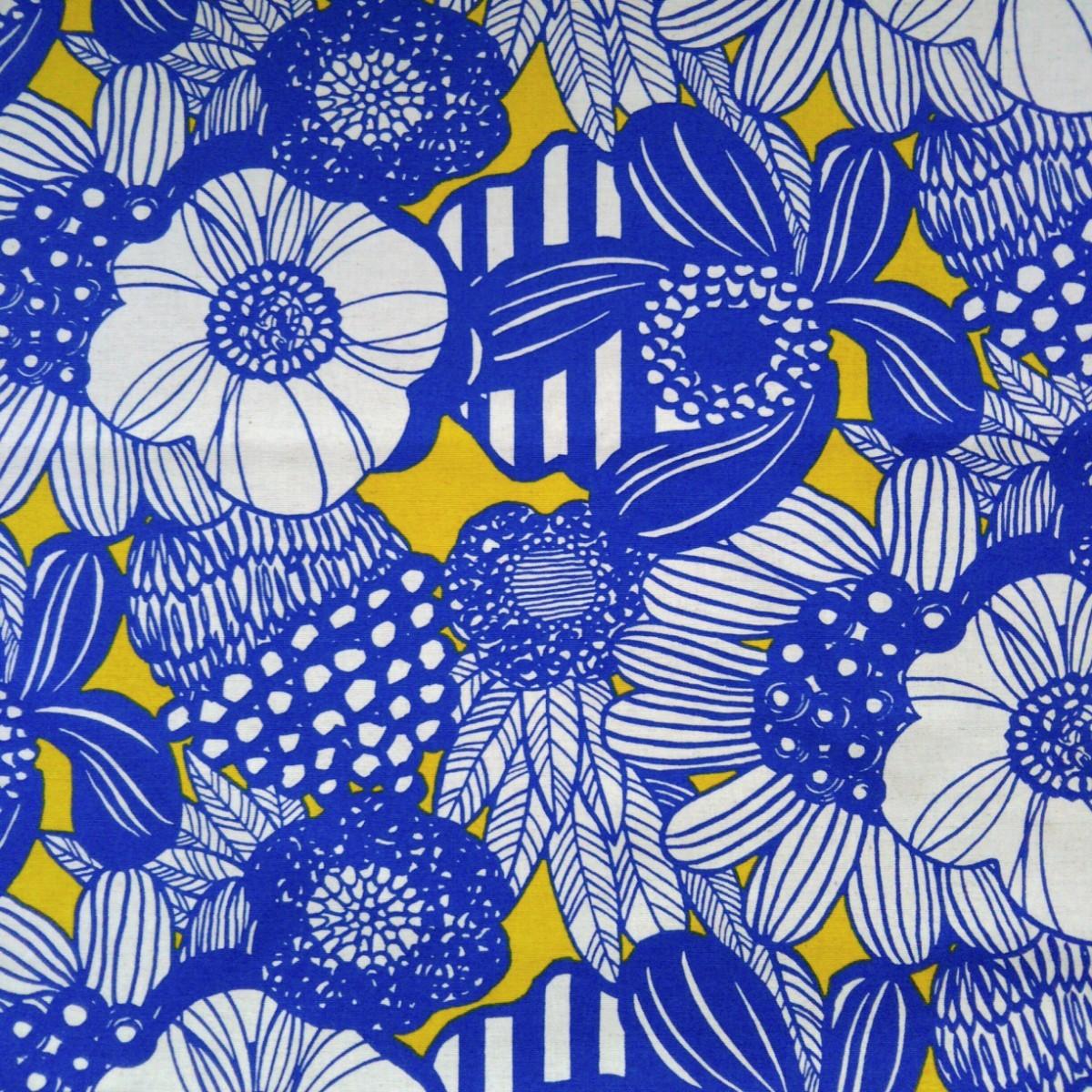 コットンこばやし北欧風綿麻キャンバス 生地 アートフラワー ブルー う早この布