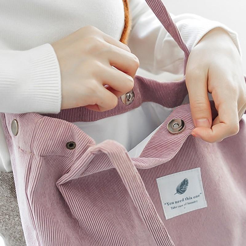 トートバッグ ショルダーバッグトートバック マチ付き  シンプル ピンク コーデュロイ生地 エゴバック 韓国