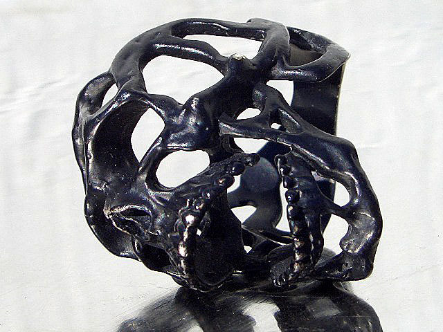卍Silver 925 Sterling silver 925 3D skeleton VINTAGE 個性的な怪しい骸骨 髑髏 バイカー野郎&ヘビメタ ロッカーに捧げるスカルリング_画像6