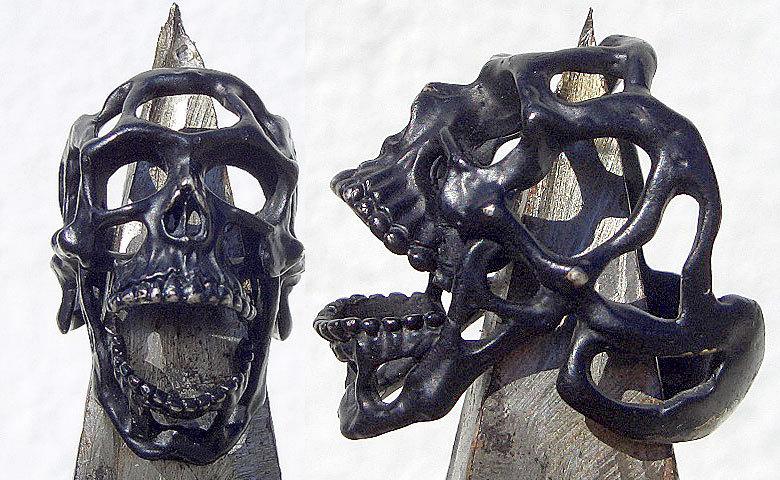卍Silver 925 Sterling silver 925 3D skeleton VINTAGE 個性的な怪しい骸骨 髑髏 バイカー野郎&ヘビメタ ロッカーに捧げるスカルリング_画像1