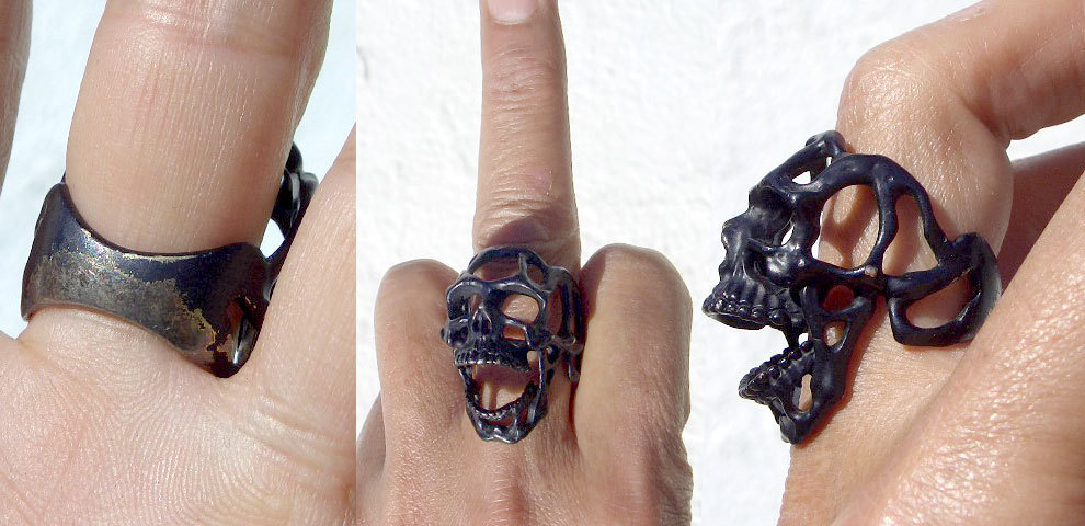 卍Silver 925 Sterling silver 925 3D skeleton VINTAGE 個性的な怪しい骸骨 髑髏 バイカー野郎&ヘビメタ ロッカーに捧げるスカルリング_画像10
