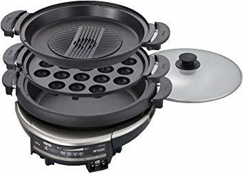ブラック タイガー グリル鍋 5.0L プレート 3枚 タイプ 深鍋 たこ焼き 焼肉 プレート ガラス蓋 付き CQD-B300_画像1