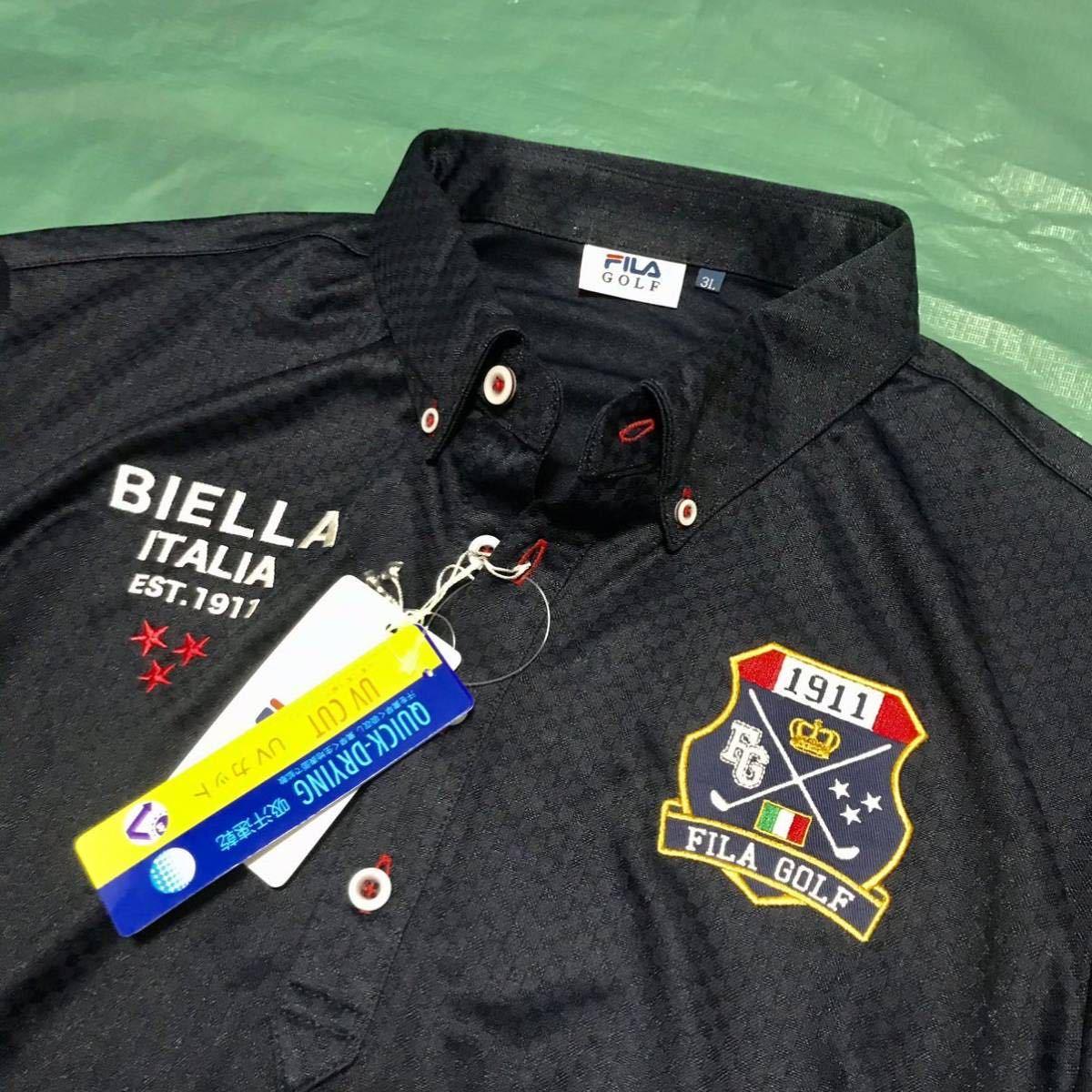 新品【メンズ LL( XL)紺ネイビー】FILA フィラ 吸汗速乾 UVカット ストレッチ ボタンダウン半袖ポロシャツ