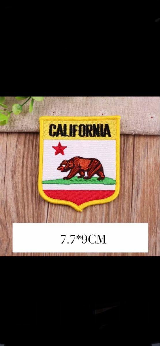 【送料無料】グリズリーワッペン 熊ワッペン グリズリーアップリケパッチ カリフォルニアワッペン アイロンワッペン 刺繍ワッペン_画像1