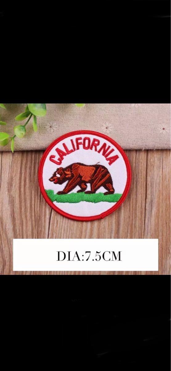 【送料無料】カリフォルニアベアーワッペン 熊ワッペン グリズリーアップリケパッチ アウトドアワッペン アイロンワッペン_画像1