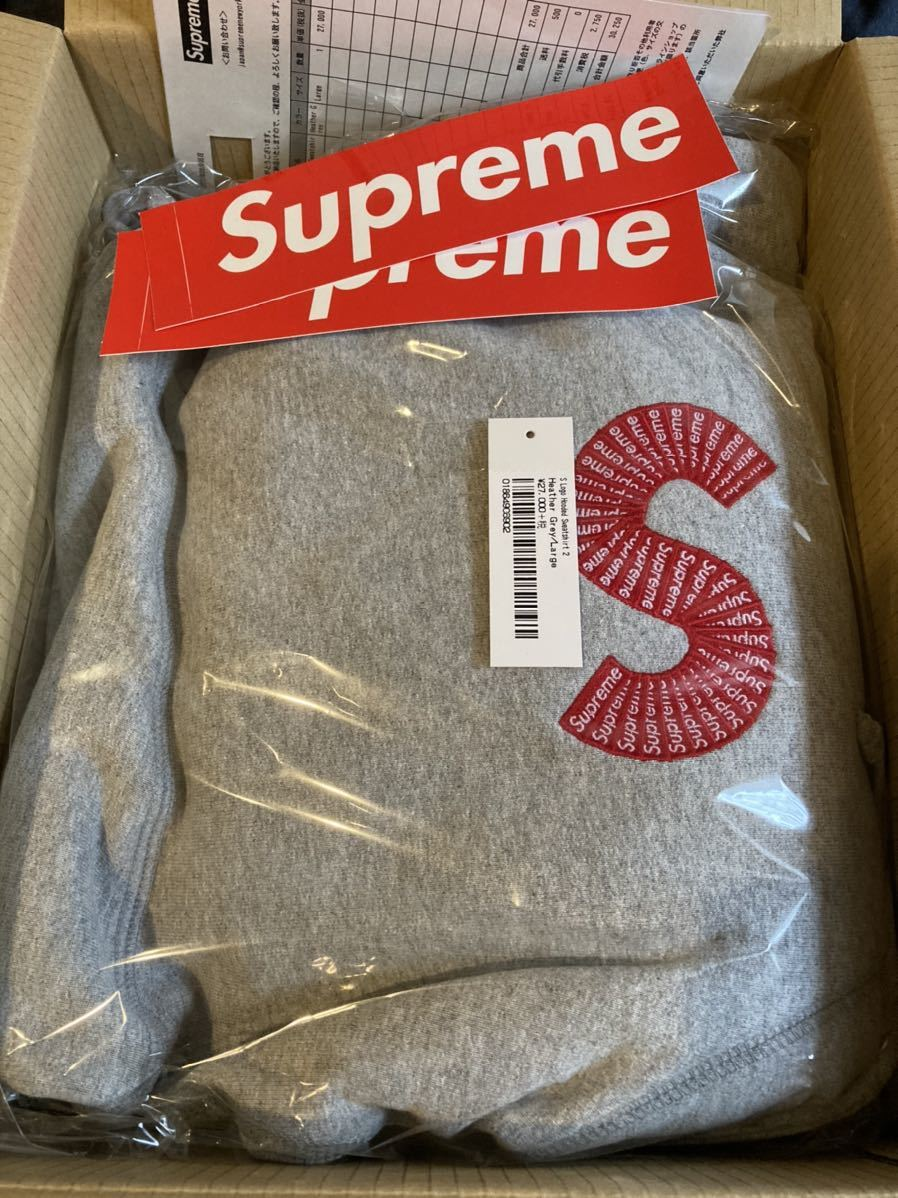 【新品即決】Supreme S Logo Hooded Sweatshirt Lサイズ Heather Gray シュプリーム Sロゴ パーカ パーカー ヘザーグレー_画像2