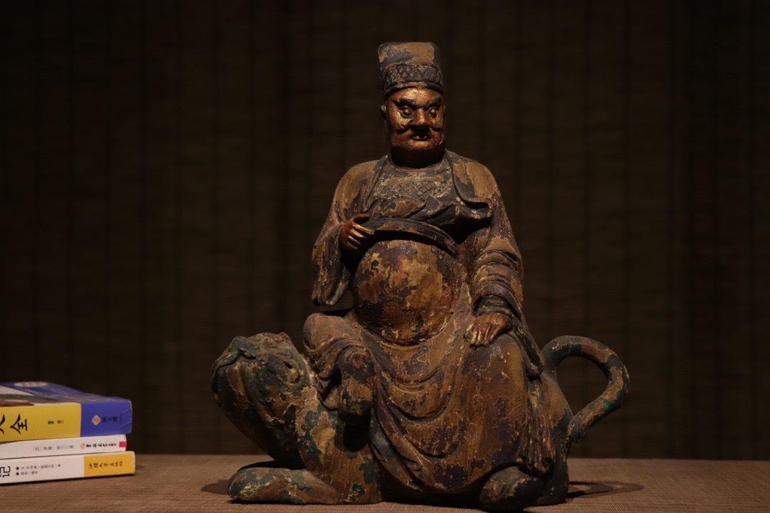 【傳】金石篆刻 明時代 楠木彫 漆金財神趙公明像 極細工 手彫り 古置物 古擺件 玉眼 仏教