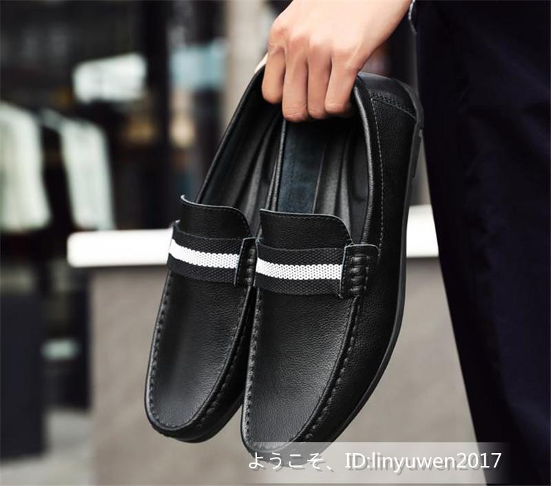 新品★ローファー メンズ スリッポン カジュアル ドライビング 紳士靴 合成革靴 滑り止め「24cm-27cmサイズ選択」黒_画像3
