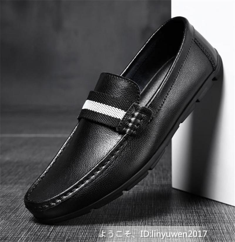 新品★ローファー メンズ スリッポン カジュアル ドライビング 紳士靴 合成革靴 滑り止め「24cm-27cmサイズ選択」黒_画像2