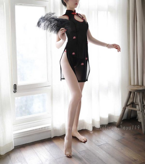 KH7875 セクシー チャイナドレス【ブラック】ロングドレス セクシーランジェリー コスプレ 衣装 ネグリジェ シースルー 衣装 下着_画像2