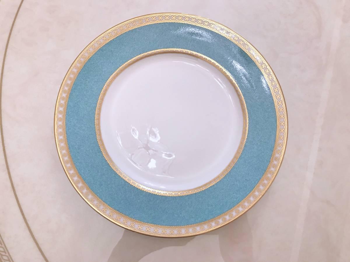 2枚セット wedgwood ウェッジウッド ユーランダー パウダーターコイズ プレート ケーキ皿 中皿 20.5cm ブルー 金彩 デザート_画像2
