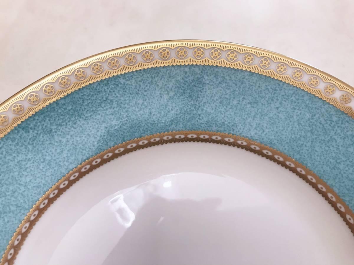 2枚セット wedgwood ウェッジウッド ユーランダー パウダーターコイズ プレート ケーキ皿 中皿 20.5cm ブルー 金彩 デザート_画像3