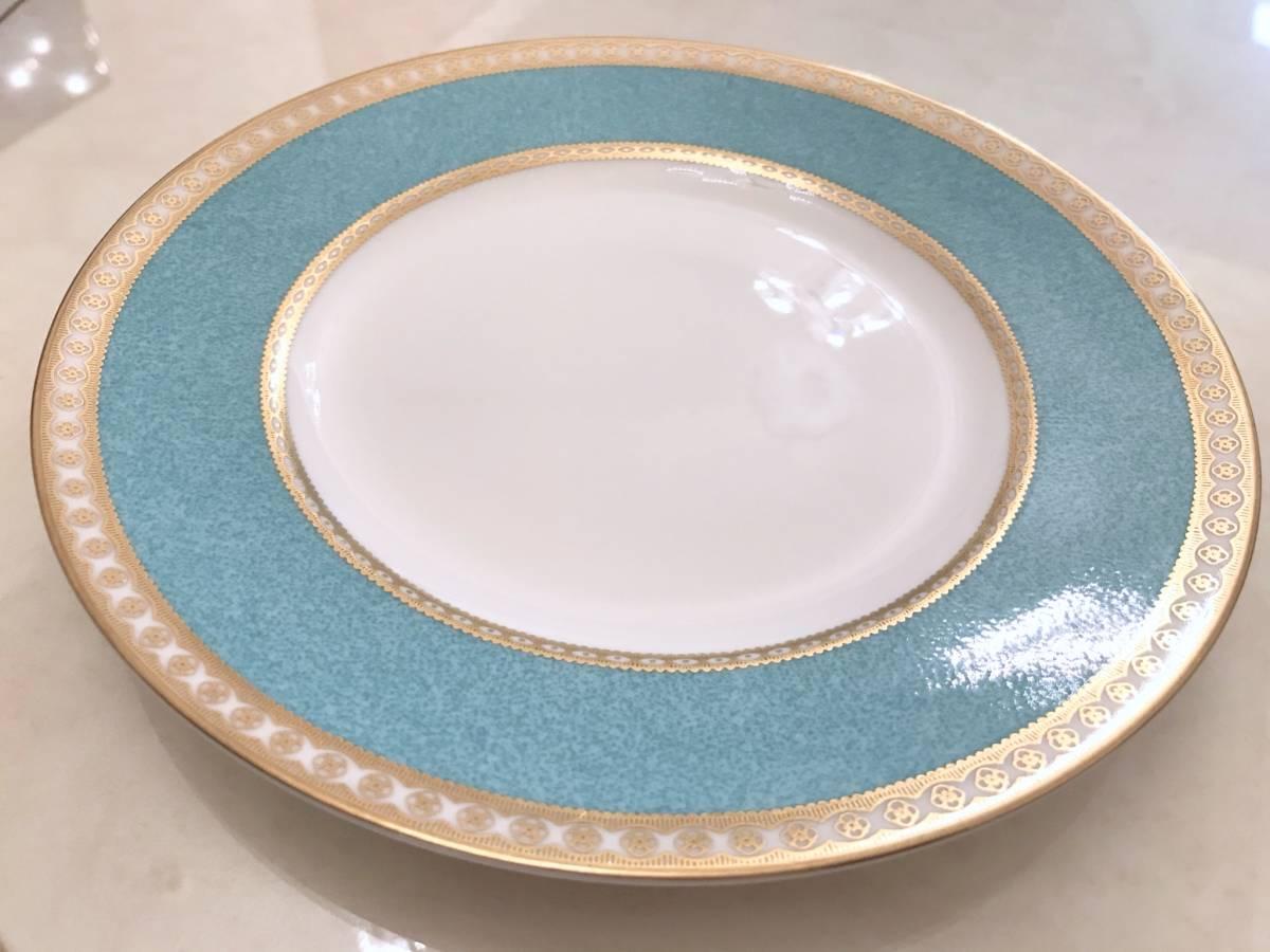 2枚セット wedgwood ウェッジウッド ユーランダー パウダーターコイズ プレート ケーキ皿 中皿 20.5cm ブルー 金彩 デザート_画像4