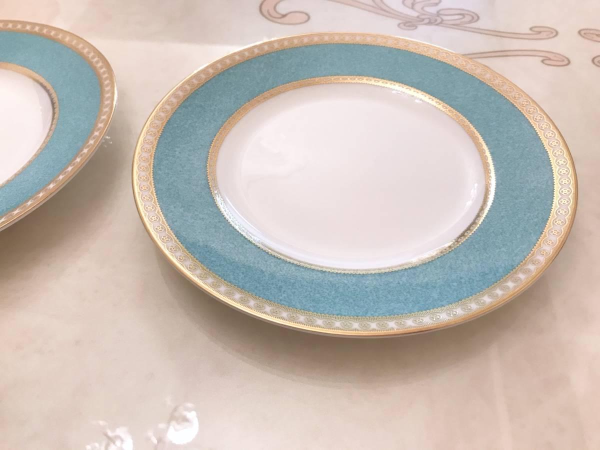 2枚セット wedgwood ウェッジウッド ユーランダー パウダーターコイズ プレート ケーキ皿 中皿 20.5cm ブルー 金彩 デザート_画像6
