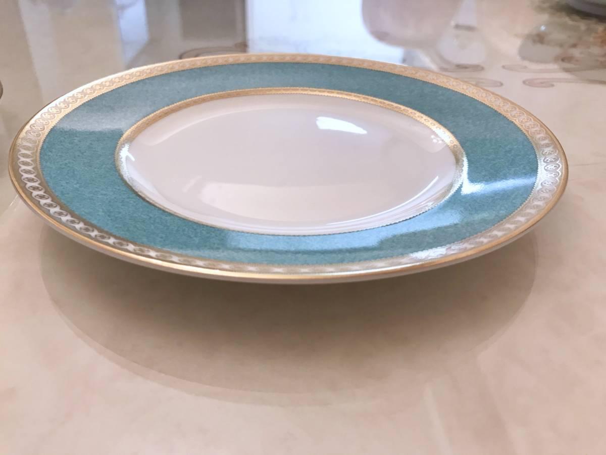 2枚セット wedgwood ウェッジウッド ユーランダー パウダーターコイズ プレート ケーキ皿 中皿 20.5cm ブルー 金彩 デザート_画像7
