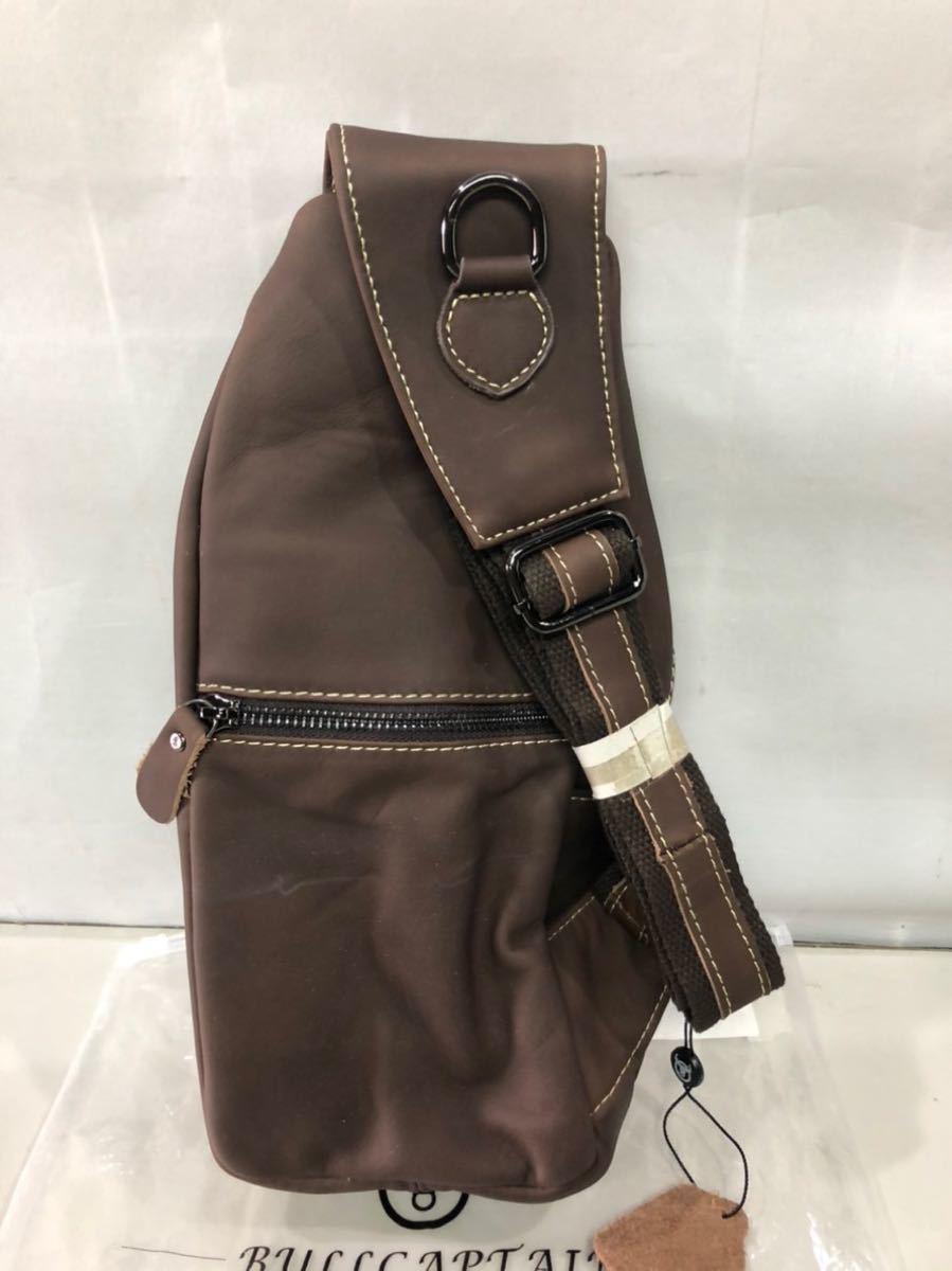 KISENG ボディバッグ メンズ 本革 ワンショルダー 斜めがけバッグ おしゃれ 軽量 大容量 (ブラウン)