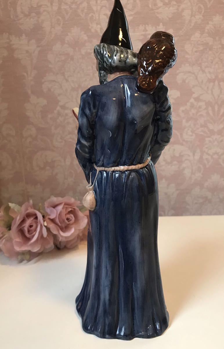 〈送料込〉ロイヤルドルトン ウィザード フィギュリン Royal Doulton The Wizard フィギュア フクロウ 猫 ネコ 魔法使い 陶器人形_画像7