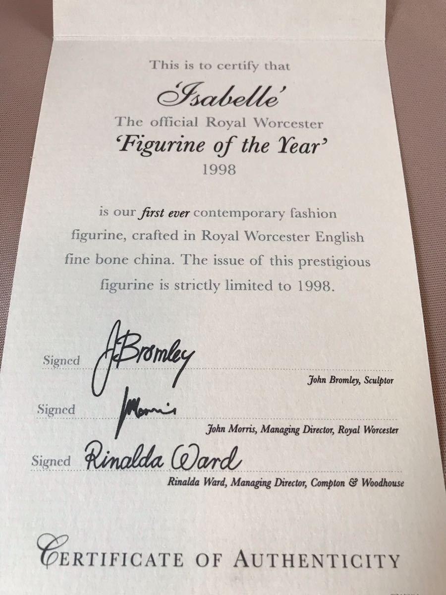 〈送料込〉〈限定品〉ロイヤルウースター フィギュリン 証明書 Royal Worcester 陶器人形 フィギュア ドレス レディ 貴婦人 1998_画像8