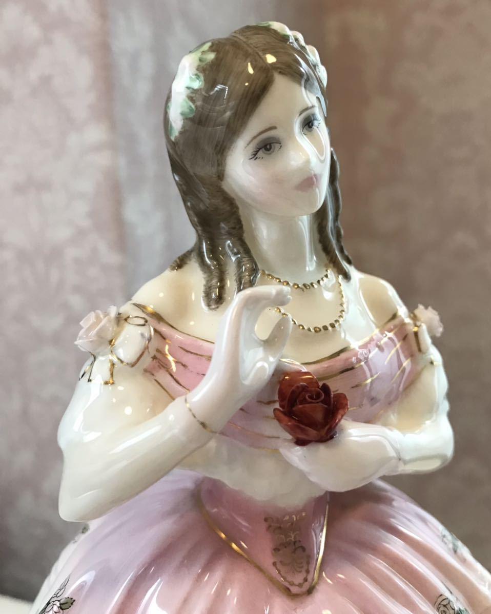 〈送料込〉〈限定品〉ロイヤルドルトン レディ フィギュリン Royal Doulton 陶器人形 フィギュア ドレス リボン 貴婦人 舞踏会 置物 ローズ_画像5