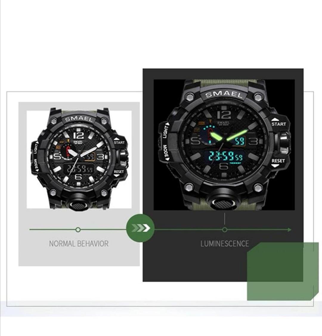 SMAELスマイル腕時計 メンズ メンズウォッチ 防水 スポーツ アナログ表示 デジタル クオーツ腕時計 多機能 ミリタリー ライト 運動腕時計_画像5