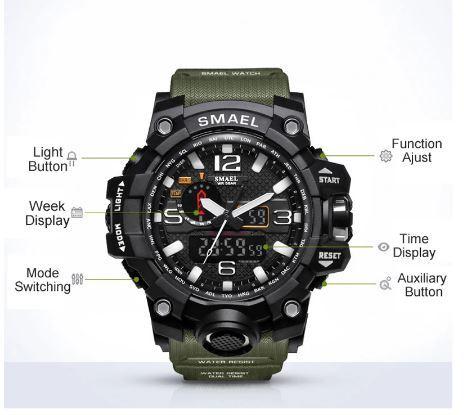 SMAELスマイル腕時計 メンズ メンズウォッチ 防水 スポーツ アナログ表示 デジタル クオーツ腕時計 多機能 ミリタリー ライト 運動腕時計_画像4