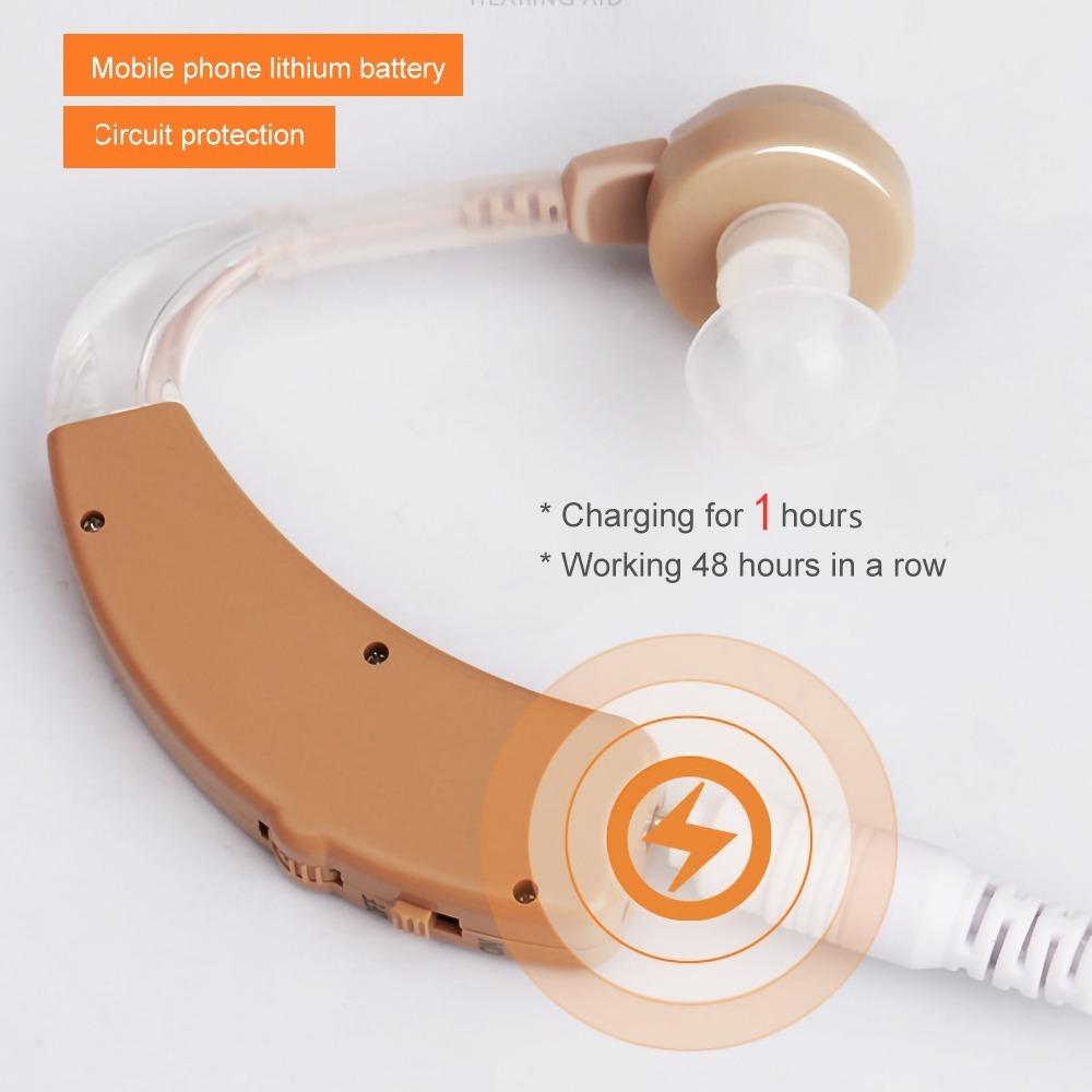 新品★送料無料 耳かけ 充電式 肌色 イヤホンキャップ 大小 多種 軽量 デジタル 小型 集音器 左右 両用 740 E1600_画像2
