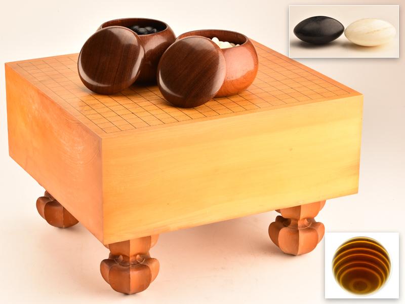 【流】囲碁道具 国産本榧材碁盤 本蛤那智黒碁石38号 JW976